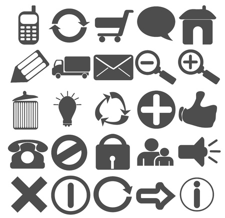 A collection of 25 web icons in plain grey color