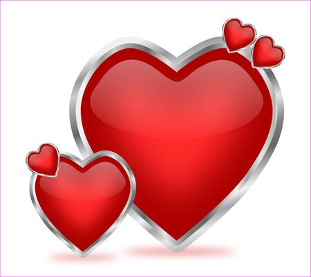 A beautiful and artistic arrangement of shiny red hearts with silver frames, which can be used for valentine decoration Stock Photo - 17093663