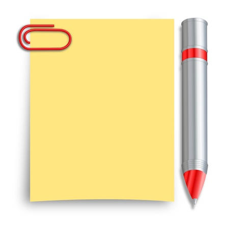 A silver and red pen placed besides a yellow sticky note sheet with a red paperclip photo