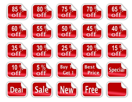 A collection of 25 sale discount stickers with curled edges and different sale offers and discount percentages written on them