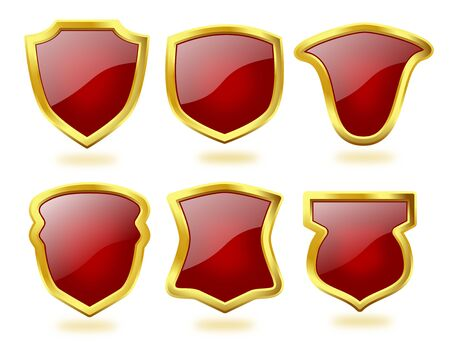 A collection of six shield icon badges in deep red color and with golden frames
