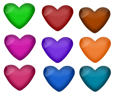 A collection of shiny and reflective hearts in nine different colors