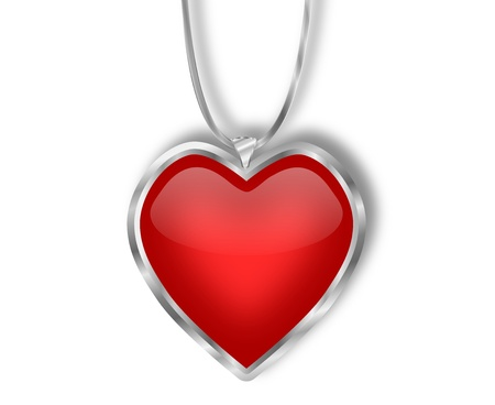 A simple graphic red heart pendant with a silver frame and a silver string