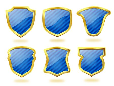 A collection of six shield icon badges in blue stripes and with golden frames