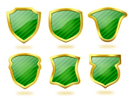 A collection of six shield icon badges in green stripes and with golden frames
