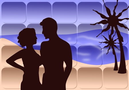 Silhouette of a romantically posed couple on a palm beach