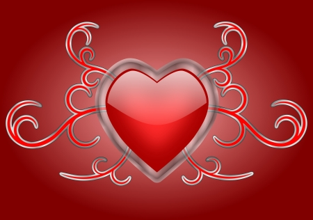 A shiny red heart with a transparent glass frame on silver and red gothic swirls background