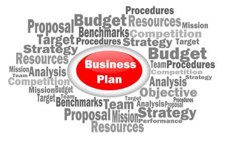 A word cloud of business planning related terms