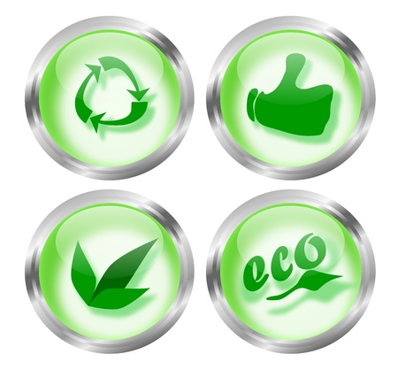 Set of four round eco-friendly icon glass buttons which can also be used as badges