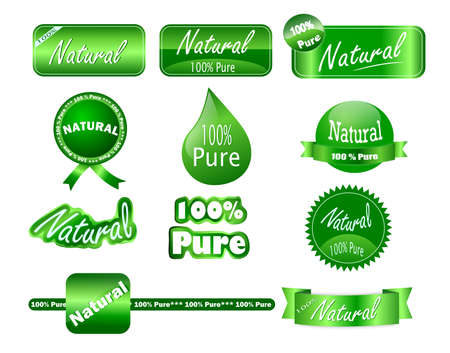 A collection of 100  pure and natural stickers that can be used on agricultural products packaging
