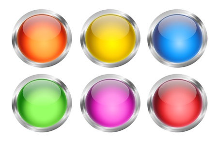 A set of six glowing and shiny round glass web buttons photo