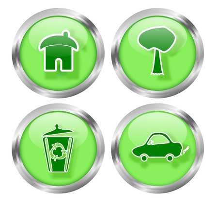 Set of four glass badges to promote green living ideas