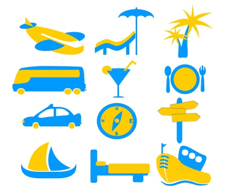 A set of holiday and travel icon graphics in orange and blue colors Stock Photo