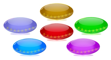 Set of oval shiny glass buttons in six colors with star inlays