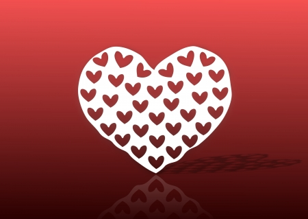 A heart shaped paper cutout on a red background  Stock Photo