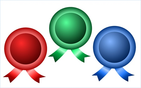 Three round badges with ribbons in blue, red and green color
