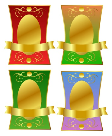 Aristocratic golden label in four different color combinations