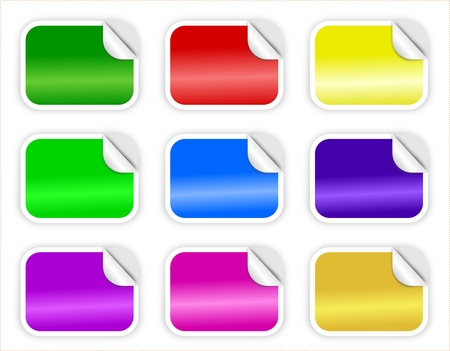 Glossy rectangular stickers with curled edge in nine colors