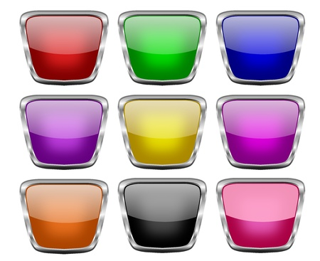 Set of nine tapering square buttons in glowing colors and with silver frames Stock Photo