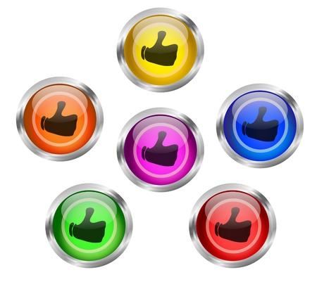 Set of like or share shiny icon buttons with a thumbs up sign