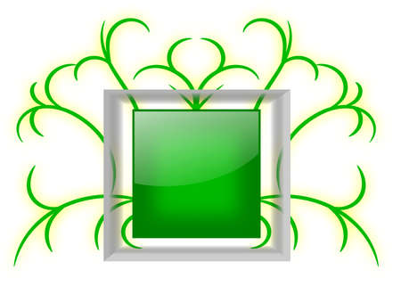 A blank shiny green square badge with a transparent glass frame on a swirls background