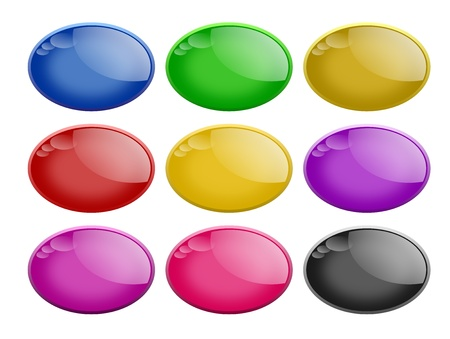 Set of nine shiny oval web buttons in different colors