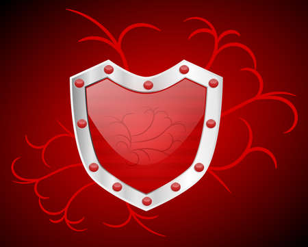 A shiny red shield with a silver frame on a dark red background Stock Photo