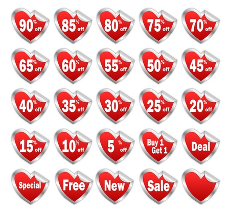 Heart shaped red discount stickers with silver borders for valentine day sale  Stock Photo