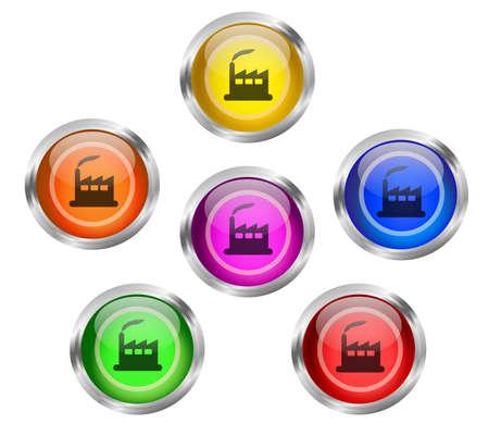 Factory Icon Button Stock Photo