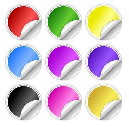 Glossy Round Stickers with Curled Edge Stock Photo