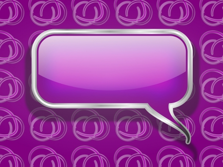 Purple Speech Bubble on Retro Background