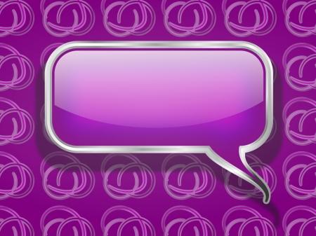 Purple Speech Bubble on Retro Background