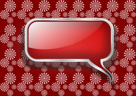 Red Speech Bubble on Retro Background photo