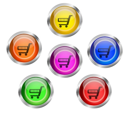 Shopping Cart Icon Button Stock Photo - 18550612
