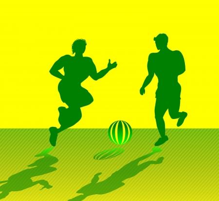 Two Muscular Men Playing Soccer