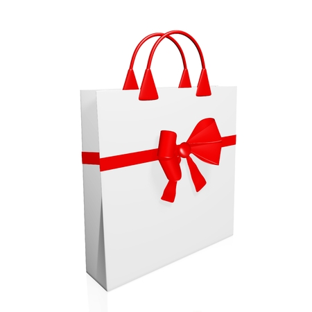 Three dimensional white shopping bag with a festive gift bow and ribbon around it