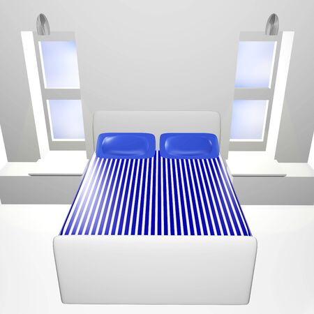 bedspread: A 3d bedroom with blue striped bedspread   Stock Photo