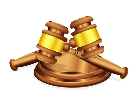 signify: Two judges gavel mallet lying crossed over each other, to signify either conflict or common decision