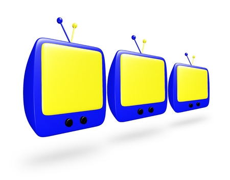 Three 3D blue cartoon TV with yellow screens in a row
