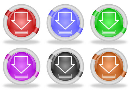 beveled: Set of download icon buttons with white beveled rims in different colors and with an arrow pointing downwards