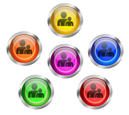 buddy: Set of shiny buttons with people, employee, buddy icon buttons different colors
