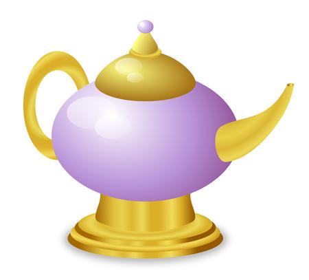 A fairy tale type magic golden lamp    photo
