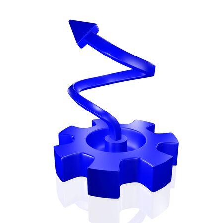 3D illustration with an upward rising growth arrow arising from a blue gear