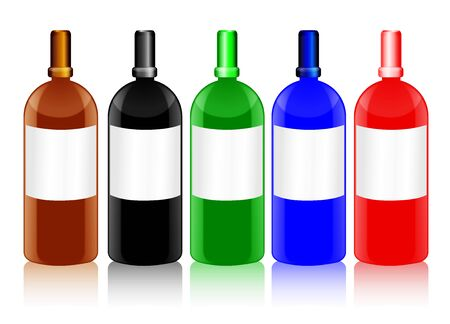 Set of shiny glass bottles with blank labels in different colors, with the shape resembling that of chemical or medicine bottles   Stock Photo