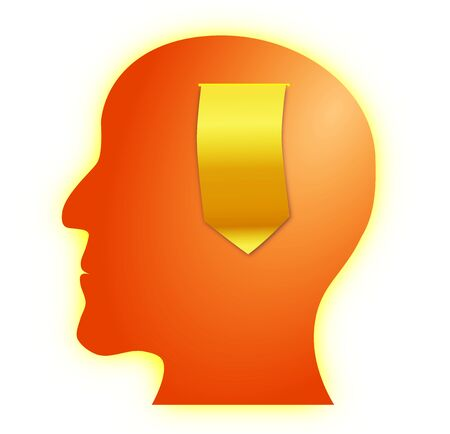 Concept of thinking or idea generation illustrated with a golden paper scroll coming out of a human head   photo