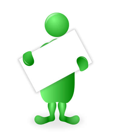 A green 3d character holding a tilted blank white poster board with copy space for a message or announcement