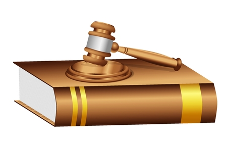A judge gavel mallet placed on a brown book with blank golden label   Stock Photo