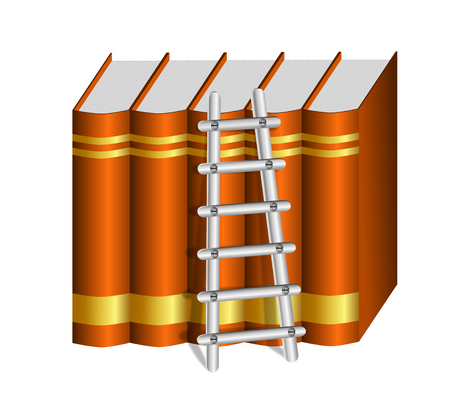 A metallic ladder placed against a row of hardbound brown books with blank golden labels
