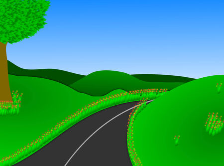 Illustration of a road leading to a lush green open countryside   illustration