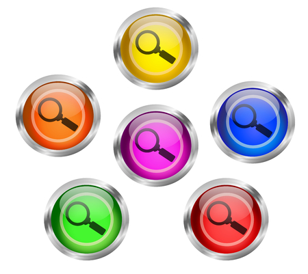 shiny buttons: Set of shiny search or magnifying lens icon buttons with steel rims   Stock Photo